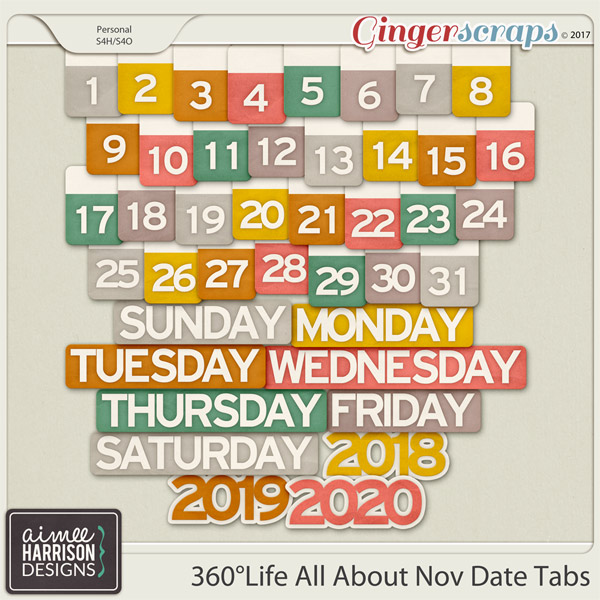 360°Life All About November Date Tabs by Aimee Harrison
