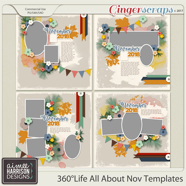 360°Life All About November Templates by Aimee Harrison