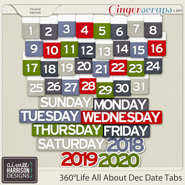 360°Life All About December Date Tabs by Aimee Harrison