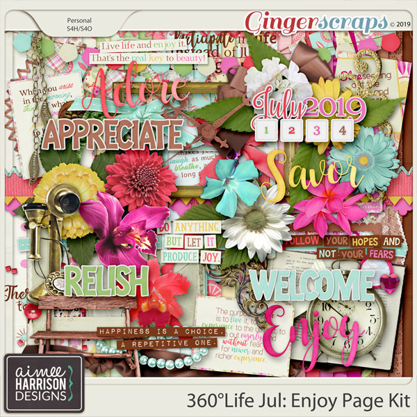 360°Life July: Enjoy Page Kit by Aimee Harrison