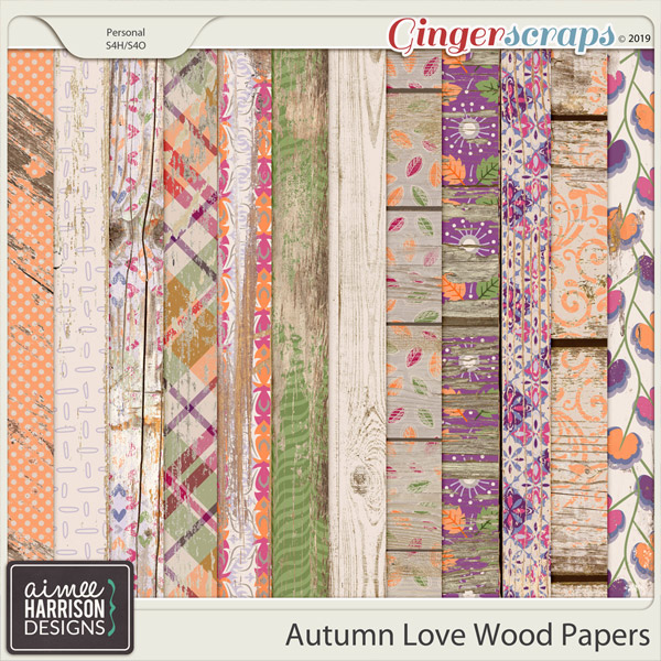 Autumn Love Wood Papers by Aimee Harrison