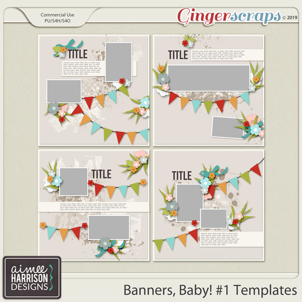 Banners, Baby #1 Templates by Aimee Harrison