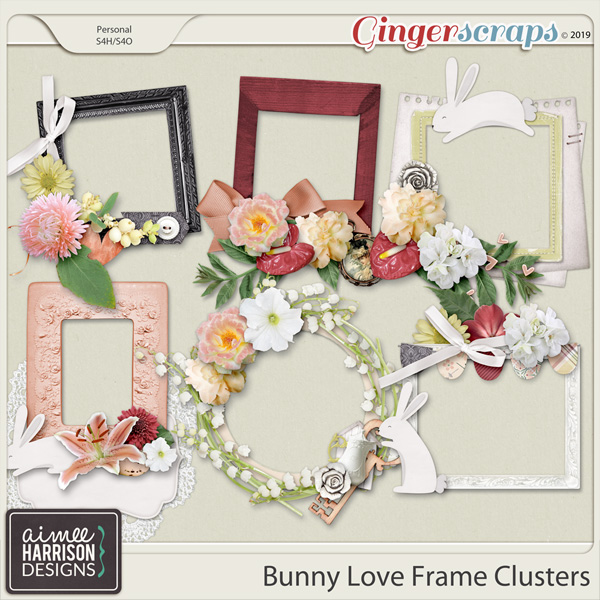 Bunny Love Frame Clusters by Aimee Harrison