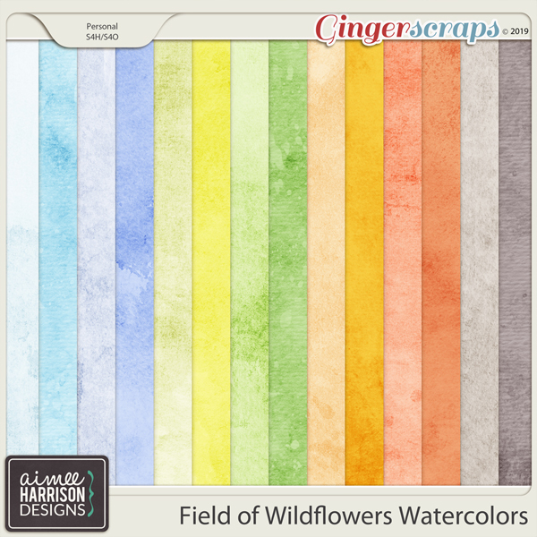 Field of Wildflowers Watercolor Papers by Aimee Harrison