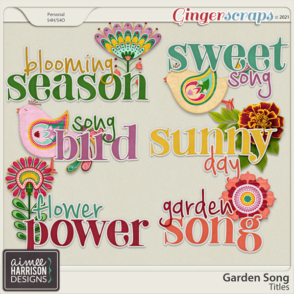 Garden Song Titles by Aimee Harrison