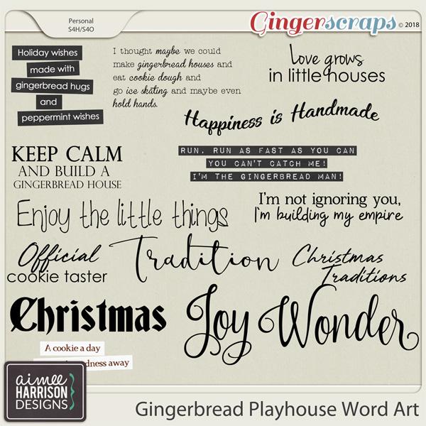 Gingerbread Playhouse Word Art by Aimee Harrison