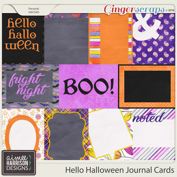 Hello Halloween Journal Cards by Aimee Harrison