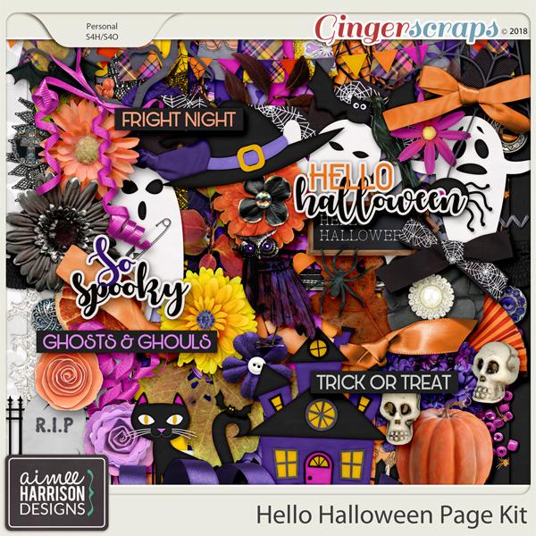 Hello Halloween Page Kit by Aimee Harrison