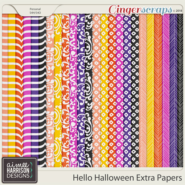 Hello Halloween Extra Papers by Aimee Harrison