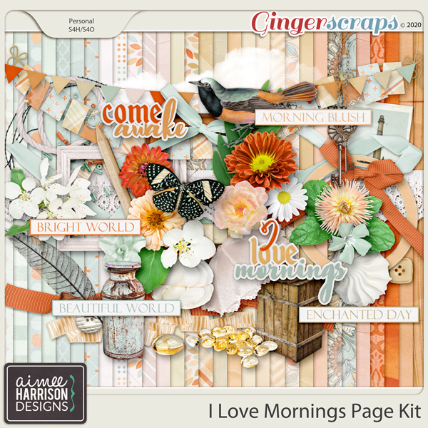 I Love Mornings Page Kit by Aimee Harrison