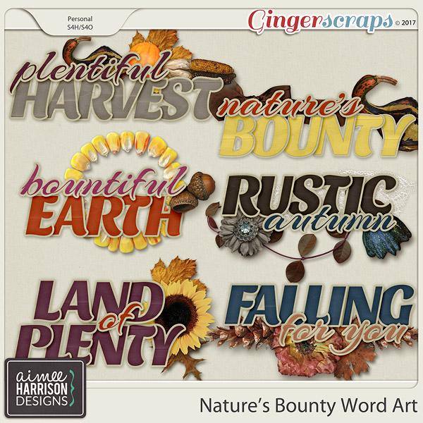 Nature's Bounty Word Art