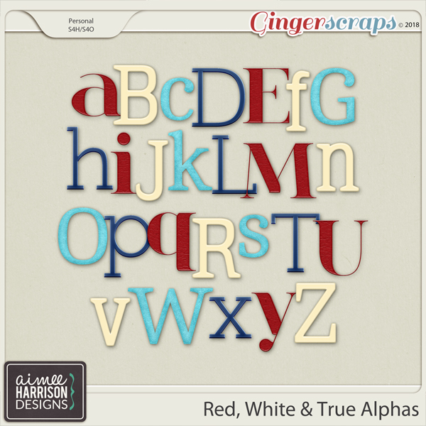 Red, White & True Alpha Sets by Aimee Harrison