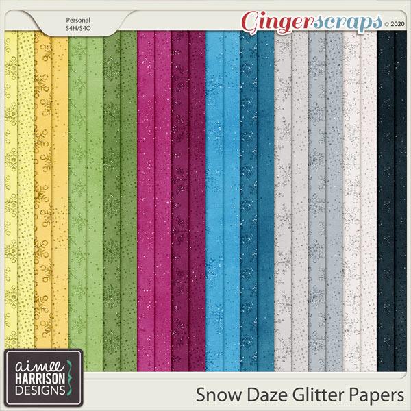 Snow Daze Glitter Papers by Aimee Harrison