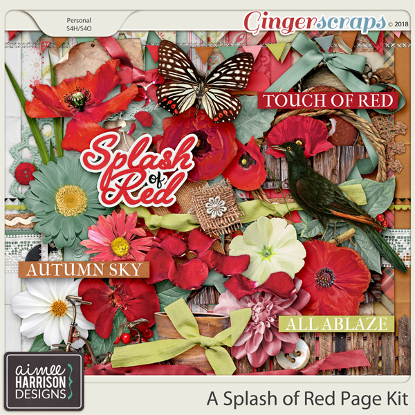 A Splash of Red Page Kit by Aimee Harrison