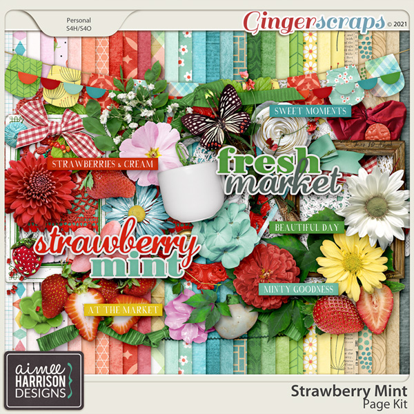 Strawberry Mint Page Kit by Aimee Harrison