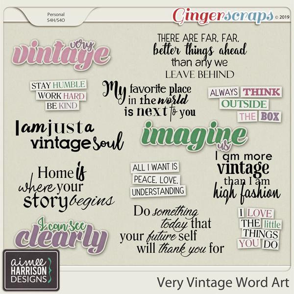 Very Vintage Word Art by Aimee Harrison