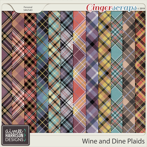 Wine and Dine Plaid Papers by Aimee Harrison