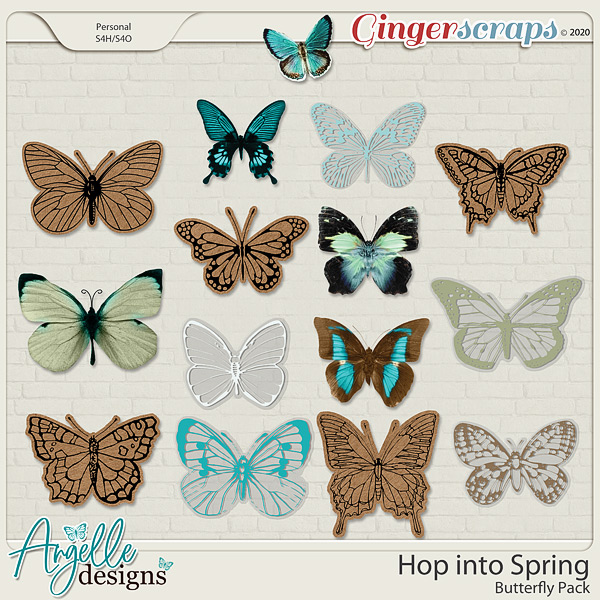 Hop into Spring. Butterfly pack by Angelle Designs