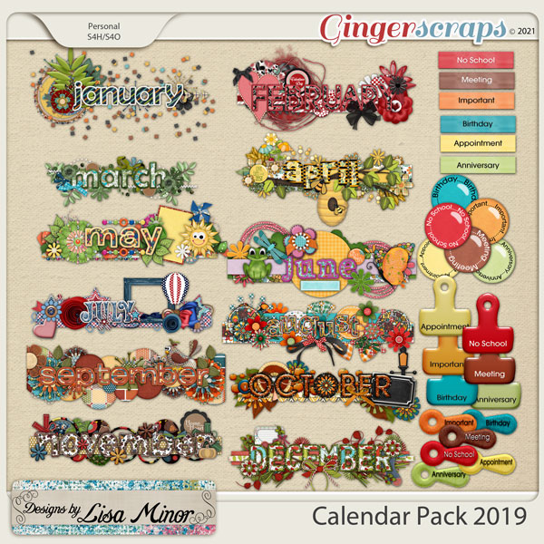 Calendar Pack 2019 from Designs by Lisa Minor
