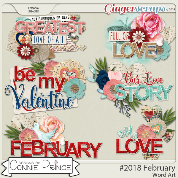 #2018 February - Word Art Pack by Connie Prince