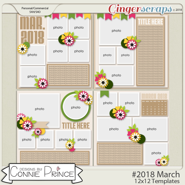 #2018 March - 12x12 Template Pack (CU Ok) by Connie Prince