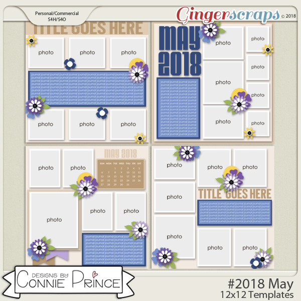 #2018 May - 12x12 Template Pack (CU Ok) by Connie Prince