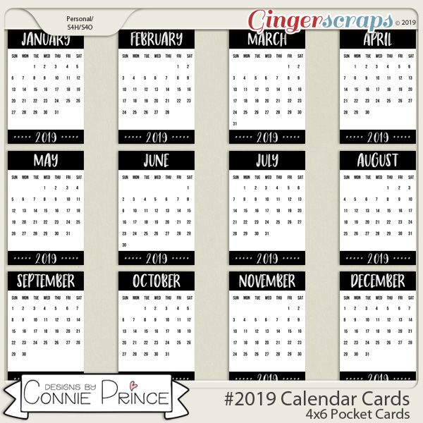 #2019 4x6 Calendar Card Templates by Connie Prince
