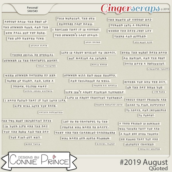 #2019 August - Quoted Pack by Connie Prince