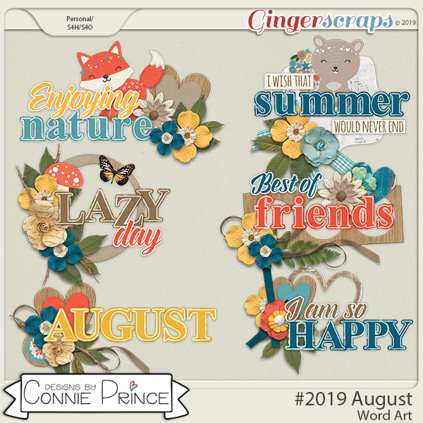 #2019 August - Word Art Pack by Connie Prince