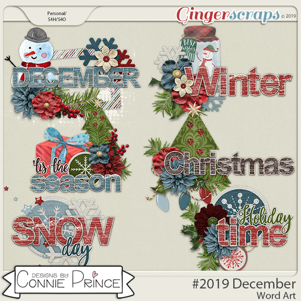 #2019 December - Word Art Pack by Connie Prince