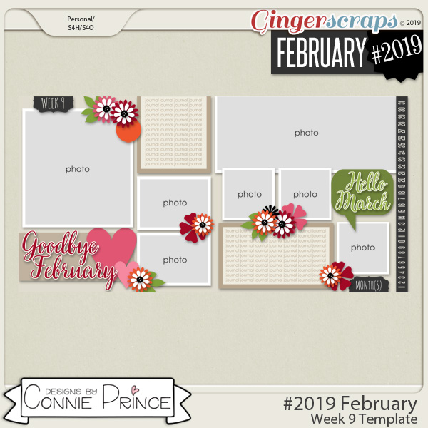 #2019 February - Week 9 Template Pack (CU Ok) by Connie Prince