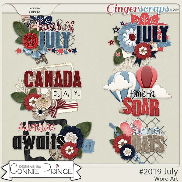 #2019 July - Word Art Pack by Connie Prince