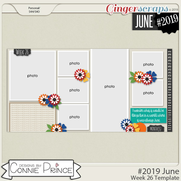 #2019 June - Week 26 Template Pack (CU Ok) by Connie Prince