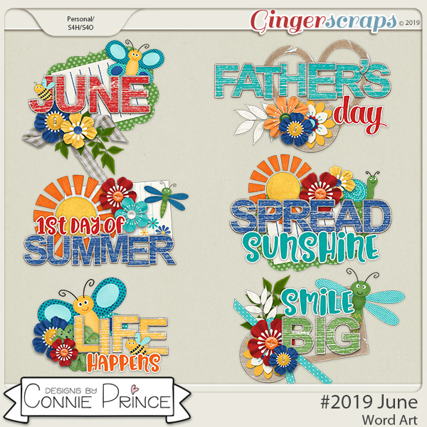 #2019 June - Word Art Pack by Connie Prince