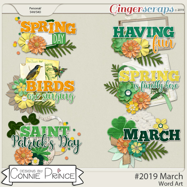 #2019 March - Word Art Pack by Connie Prince