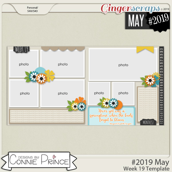 #2019 May - Week 19 Template Pack (CU Ok) by Connie Prince
