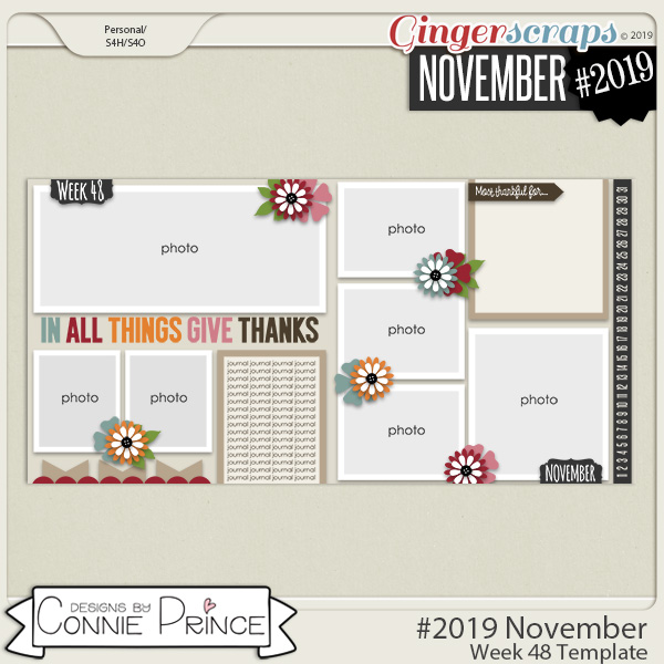 #2019 November - Week 48 Template Pack (CU Ok) by Connie Prince