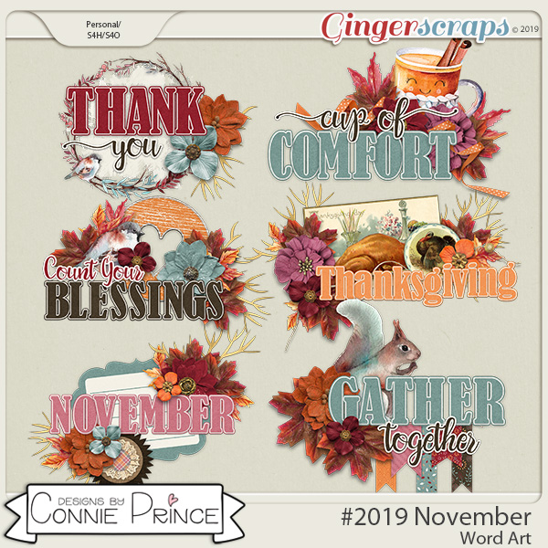 #2019 November - Word Art Pack by Connie Prince
