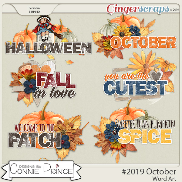 #2019 October - Word Art Pack by Connie Prince