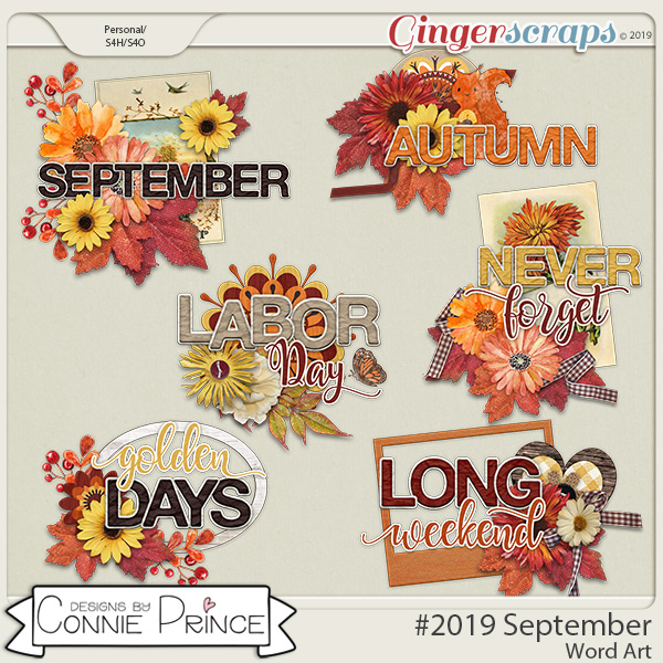 #2019 September - Word Art Pack by Connie Prince
