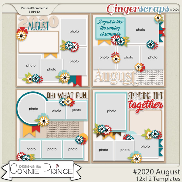 #2020 August - 12x12 Template Pack (CU Ok) by Connie Prince