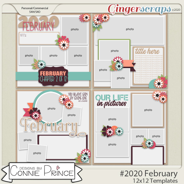 #2020 February - 12x12 Template Pack (CU Ok) by Connie Prince