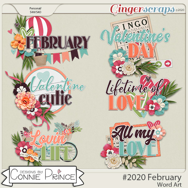 #2020 February - Word Art Pack by Connie Prince