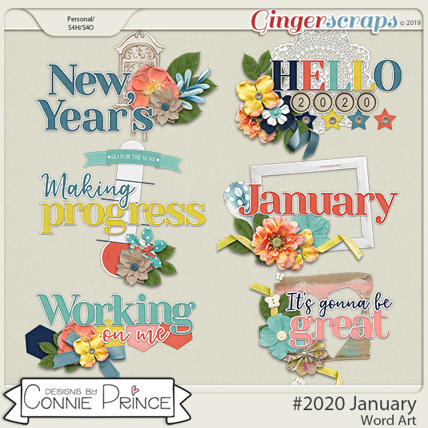 #2020 January - Word Art Pack by Connie Prince