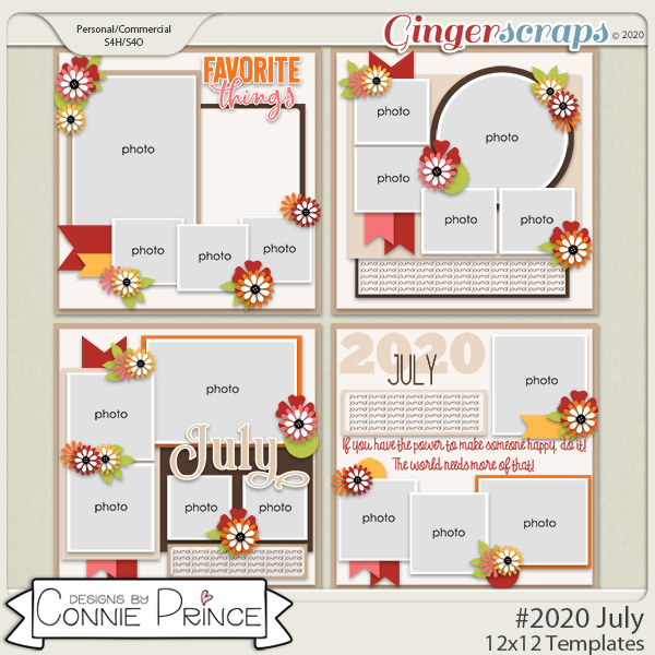 #2020 July - 12x12 Template Pack (CU Ok) by Connie Prince