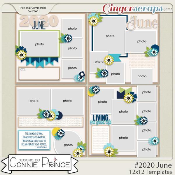 #2020 June - 12x12 Template Pack (CU Ok) by Connie Prince