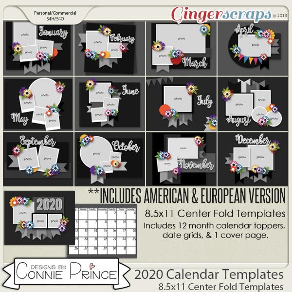 2020 Center Fold 8.5x11 Calendar Templates (CU Ok) by Connie Prince