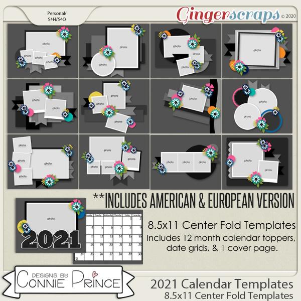 Cu Calendar 2021 GingerScraps :: Templates :: 2021 Center Fold 8.5x11 Calendar