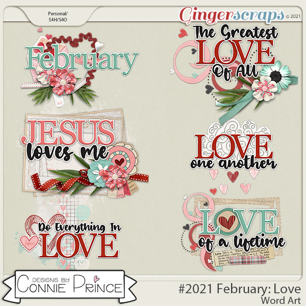 2021 February: Love Wordart by North Meets South Studios