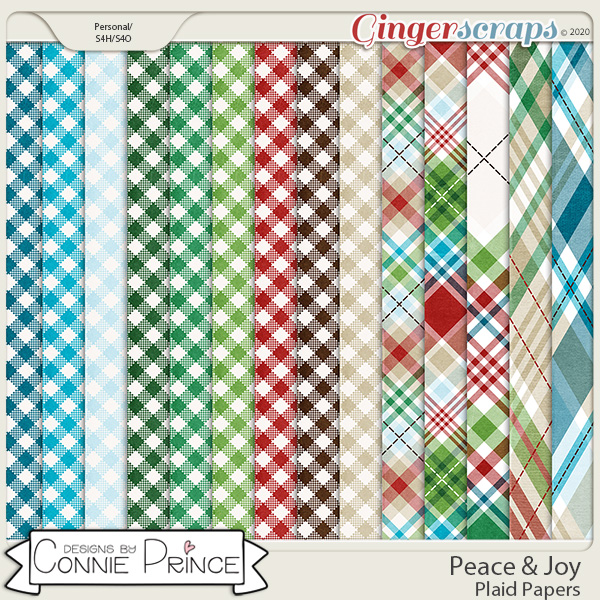 Peace & Joy - Plaid Papers by Connie Prince